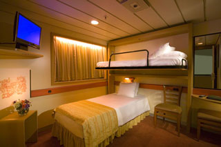 Interior Bunk Bed Stateroom on Carnival Fantasy