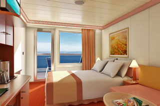 Aft-View Extended Balcony Stateroom on Carnival Glory